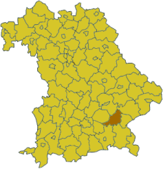 Map of Bavaria highlighting the district Mühldorf