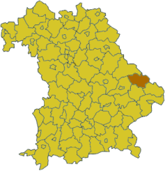 Map of Bavaria highlighting the district Regen
