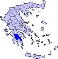 Map showing Arcadia within Greece
