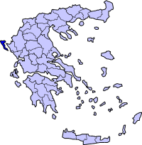 Map showing Corfu within Greece
