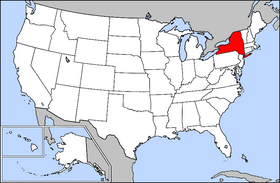 Map of the U.S. with New York highlighted