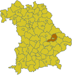 Map of Bavaria highlighting the district Straubing-Bogen