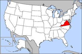 Map of the U.S. with Virginia highlighted