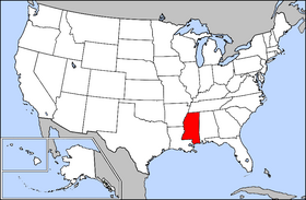 Map of the U.S. with Mississippi highlighted