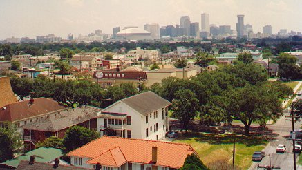 A view across Uptown New Orleans, with the Central Business District in the background,