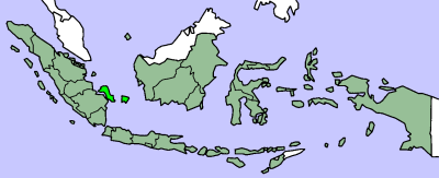 Map showing Bangka-Belitung province in Indonesia