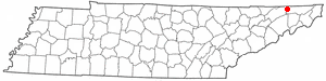 Location of Kingsport, Tennessee