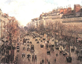 Boulevard Montmartre. (), a painting by  of the boulevard that led to Montmartre as seen from his hotel room.