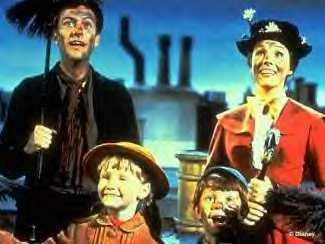 Mary Poppins (right, behind) as portrayed by  in the most famous adaptation of the character.