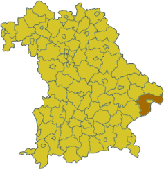 Map of Bavaria highlighting the district Passau