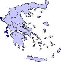 Map showing Ionian Islands periphery in Greece