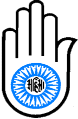 "The hand with a wheel on the palm symbolizes the Jain Vow of Ahimsa, meaning non-injury and non-violence. The word in the middle of the wheel reads ""ahimsa."" This logo represents halting the cycle of reincarnation through relentless pursuit of truth."