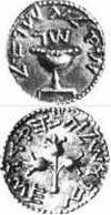 "A coin issued by the rebels in . : "" Israel, year 3"". : ""Jerusalem the Holy"""