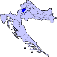 Map showing city of Zagreb within Croatia