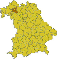 Map of Bavaria highlighting the district Schweinfurt