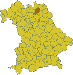 Map of Bavaria highlighting the district Kulmbach