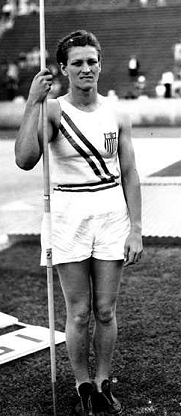 Babe Didrikson in the 1932 Olympic javelin competition