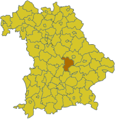 Map of Bavaria highlighting the district Kelheim