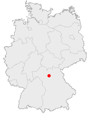Map of Germany showing Bamberg