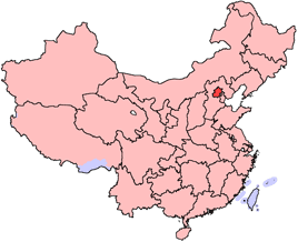 Beijing is highlighted on this map