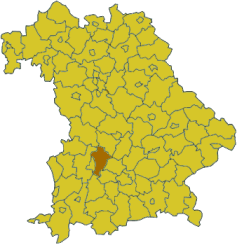 Map of Bavaria highlighting the district Aichach-Friedberg