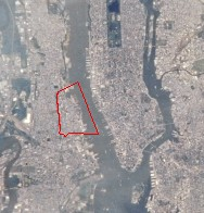 Image of Hoboken taken by NASA (red line shows where Hoboken is).