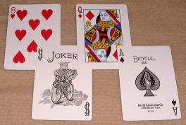 Some typical Anglo-American playing cards.
