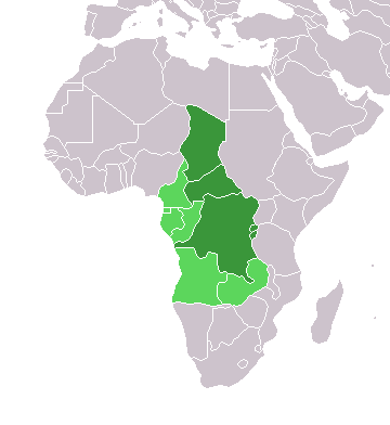 Map of Africa with the central countries highlighted