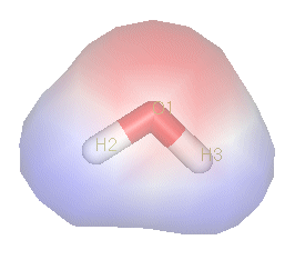A commonly-used example of a polar compound is  (2). The  of water's hydrogen  are strongly attracted to the oxygen atom, and are actually closer to oyxgen's  than to the hydrogen nuclei; thus, water has a relatively strong negative charge in the middle (red shade), and a positive charge at the ends (blue shade).