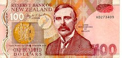 A New Zealand 100 dollar paper banknote, now replaced by the polymer issue.