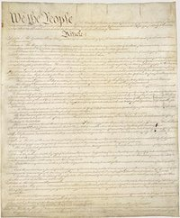 The , adopted in  by a , sets down the basic framework of American government in its seven articles. The constitution replaced the  system of the  (in force from  to ). The Constitution is currently on display at the .