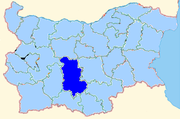 Plovdiv region shown within Bulgaria