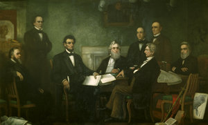 First Reading of the Emancipation Proclamation - Lincoln meets with his Cabinet.