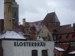 The Klosterbräu brewery, and the rooftops of Bamberg.