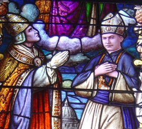 Pope Pius XI blesses Bishop Stephen Alencastre as fifth Apostolic Vicar of the Hawaiian Islands in a Cathedral of Our Lady of Peace window. He was the only bishop who grew up in Hawaii.
