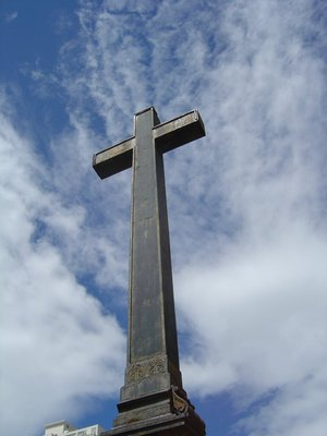 An iron cross marks the burial site of the bishops.
