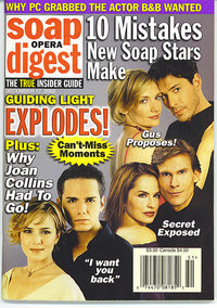 A 2002  cover, featuring popular tortured couples Gus and Harley (Ricky Paull Goldin and Beth Ehlers), Olivia and Phillip (Crystal Chappell and Grant Aleksander), and Danny and Michelle (Paul Anthony Stewart and Nancy St. Alban). Today, none of the couples are together.