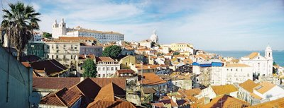 Panoramic view of Lisbon from  with  on the left and St Michael's church in the  on the far right.
