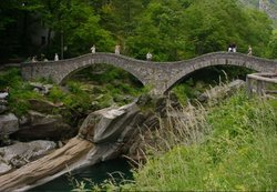 "Stone bridge ""Ponte dei Salti"" at Lavertezzo (Ticino) near Locarno"