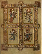 The symbols of the four Evangelists are here depicted in the