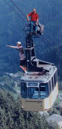 Having fun with photography: manipulation of the scanned print in a graphics program puts these two brave people on top of an Austrian cable car. Click on the picture to see the three components.