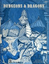 The cover of the D&D Basic Set, 2nd printing, showcases some of the rather amateurish artwork the game featured in its early years.