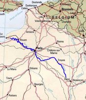 The route of the river Seine, in northern France