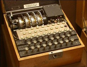 An Enigma model T (Tirpitz) — a modified commercial Enigma K manufactured for use by the Japanese.