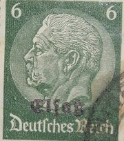 "German postage stamp of the  series (1933-1936), overprinted ""Elsass"" in  for the Nazi occupation, 1940"