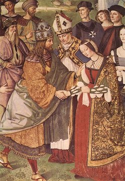 "Detail of ""Aeneas Piccolomini Introduces Eleonora of Portugal to Frederick III"" by Pinturicchio (1454-1513)"