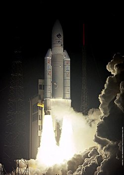 Ariane 5 lifts off with the  on 2 March 2004.