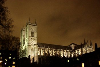 The Abbey at night, from Dean's Yard. Artificial light reveals the  formed by .