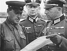 Soviet and German soldiers meeting after the .