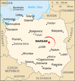 Warsaw on map of Poland